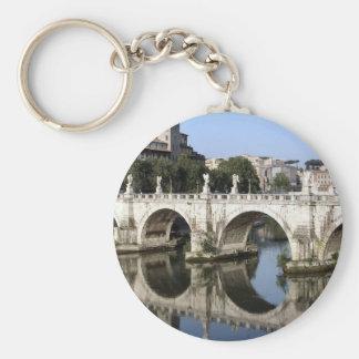 Bridge of Castel st Angelo, Rome, Italy Basic Round Button Key Ring