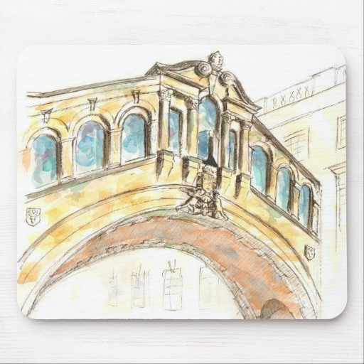 Bridge of Sighs watercolour drawing Mouse Mat