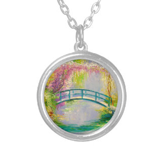 Bridge on the pond silver plated necklace