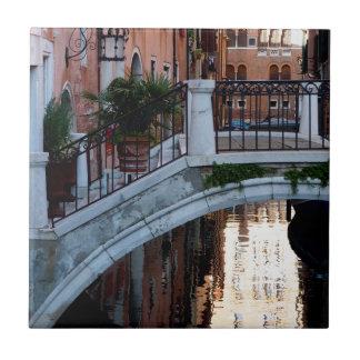 Bridge Over a Canal Small Square Tile
