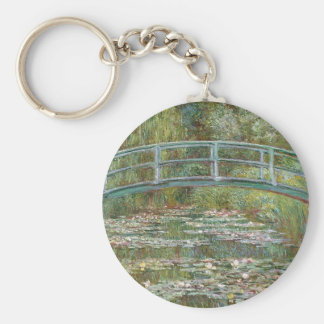 Bridge over a Pond of Water Lilies Key Ring
