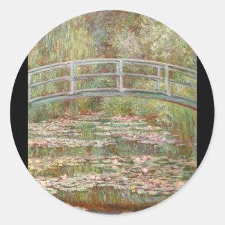 Bridge Over a Pond of Water Lilies Round Sticker