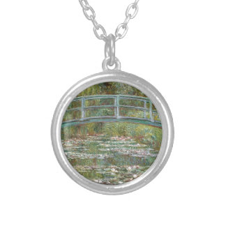 Bridge over a Pond of Water Lilies Silver Plated Necklace