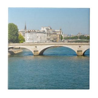 Bridge over the river Seine in Paris, France Small Square Tile