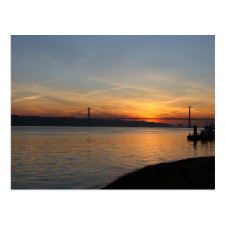 Bridge over the River Tagus at Sunset Postcard