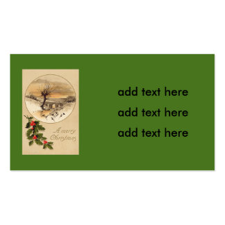 Bridge Snow Wintry Scene Holly Pack Of Standard Business Cards