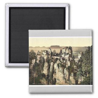 Bridge, the Bastion, Saxony, Germany rare Photochr Square Magnet