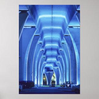 Bridge, underneath lighting, Port of Miami, Poster