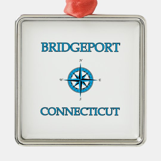 Bridgeport Connecticut Nautical Compass Rose Metal Ornament