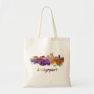 Bridgeport skyline in watercolor tote bag