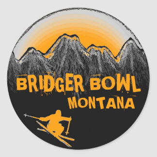 Bridger Bowl Montana orange skier stickers