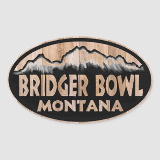 Bridger Bowl wooden oval stickers