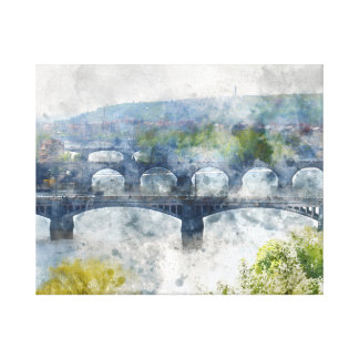 Bridges in Prague Czech Republic Canvas Print