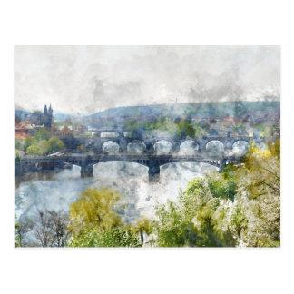 Bridges in Prague Czech Republic Postcard