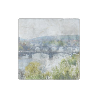 Bridges in Prague Czech Republic Stone Magnet
