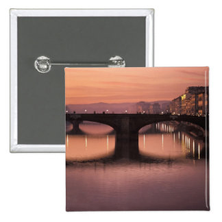 Bridges over the Arno River at sunset, 2 15 Cm Square Badge