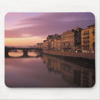 Bridges over the Arno River at sunset, Mouse Pad
