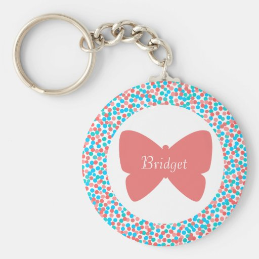 Bridget Pretty Pink Butterfly Dots Name Keychain