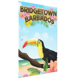 Bridgetown Barbados Toucan travel poster Canvas Print