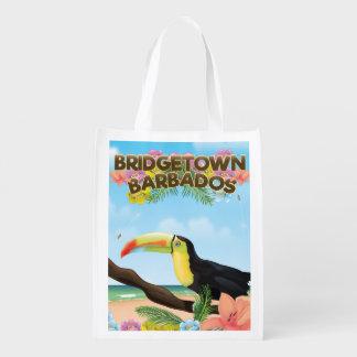 Bridgetown Barbados Toucan travel poster Reusable Grocery Bag