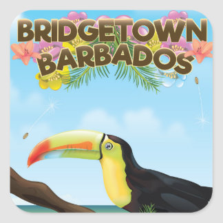 Bridgetown Barbados Toucan travel poster Square Sticker