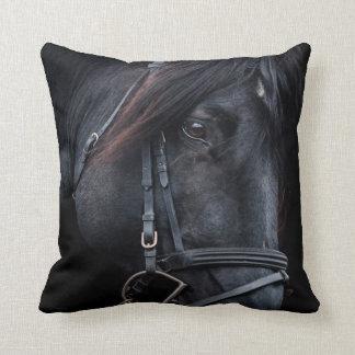 Bridled Black Stallion Face Throw Pillow