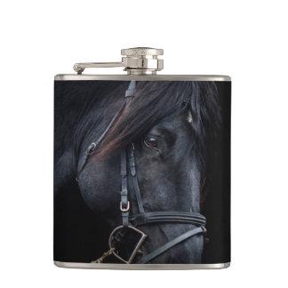 Bridled Black Stallion Face Flask