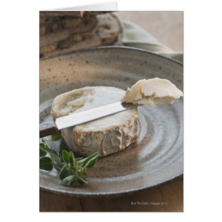 Brie cheese on plate card