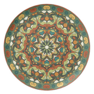 Bright abstract circular pattern Melamine Plate