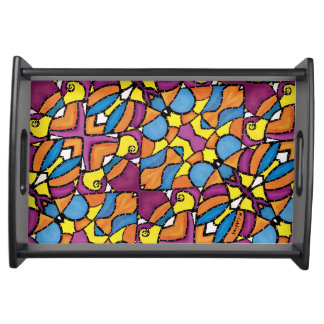 Bright Abstract Colorful Pattern Serving Tray
