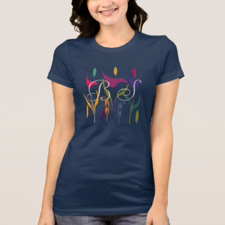 Bright Abstract Floral Art Add Initials T-shirt