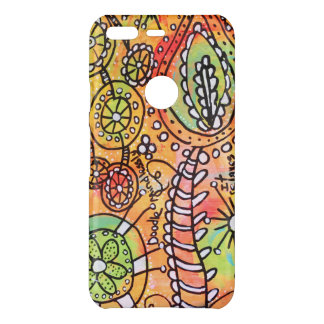 Bright Abstract Floral Doodle Art Orange Yellow Uncommon Google Pixel Case