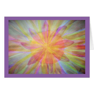 Bright, abstract, kaleidoscope watercolor card