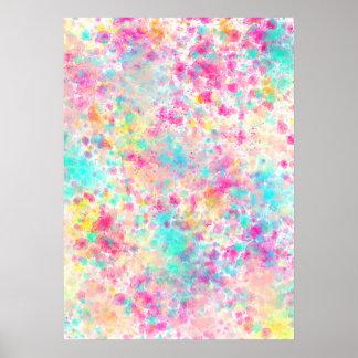 Bright Abstract Neon Rainbow Splatter Pattern Poster
