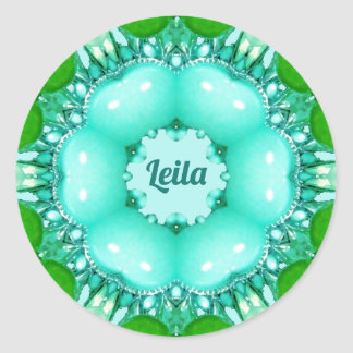 ~ Bright Abstract Pattern ~ Personalised LEILA ~ Classic Round Sticker