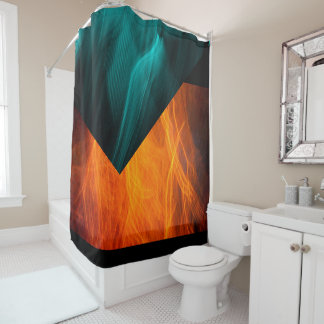 Bright Abstract Teal and Orange Shower Curtain
