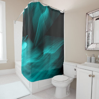 Bright Abstract Teal Shower Curtain