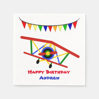 Bright Airplane Birthday Boy Disposable Napkins