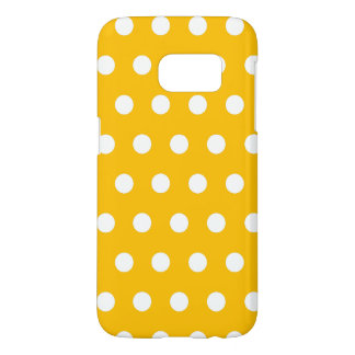 Bright Amber Yellow And White Polka Dots Pattern