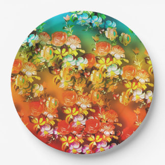 Bright and beautiful abstract flowers on paper pla paper plate