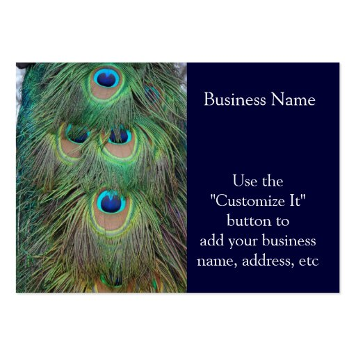 Bright and Bold Peacock Feathers Business Card Templates