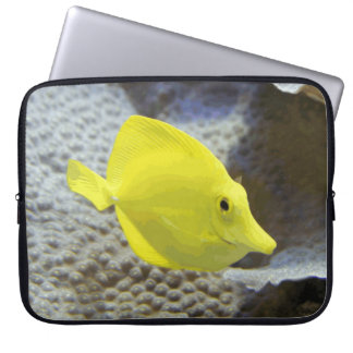 Bright And Cheerful Yellow Coral Fish Laptop Sleeves