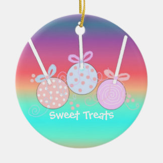 Bright and Cheery Cake Pops Ceramic Ornament
