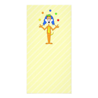 Bright and Colorful Cartoon Dog Juggling. Photo Cards