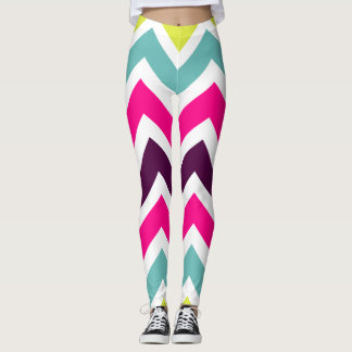 Bright and Colorful Chevron Pattern Leggings