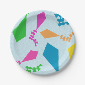 Bright and Colorful Flying Kites Pattern 7 Inch Paper Plate