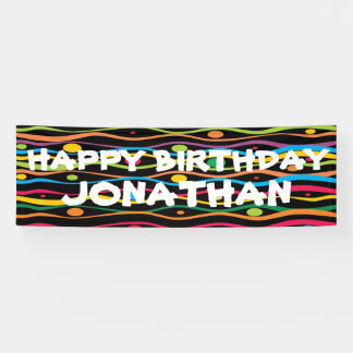 Bright and colorful happy birthday party banner