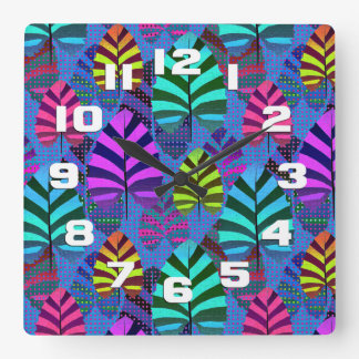 Bright and Colorful Leaf Pattern 767 Clock