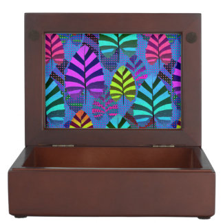 Bright and Colorful Leaf Pattern 767 Keepsake Box