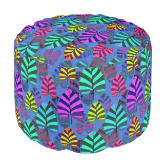 Bright and Colorful Leaf Pattern 767 Pouf